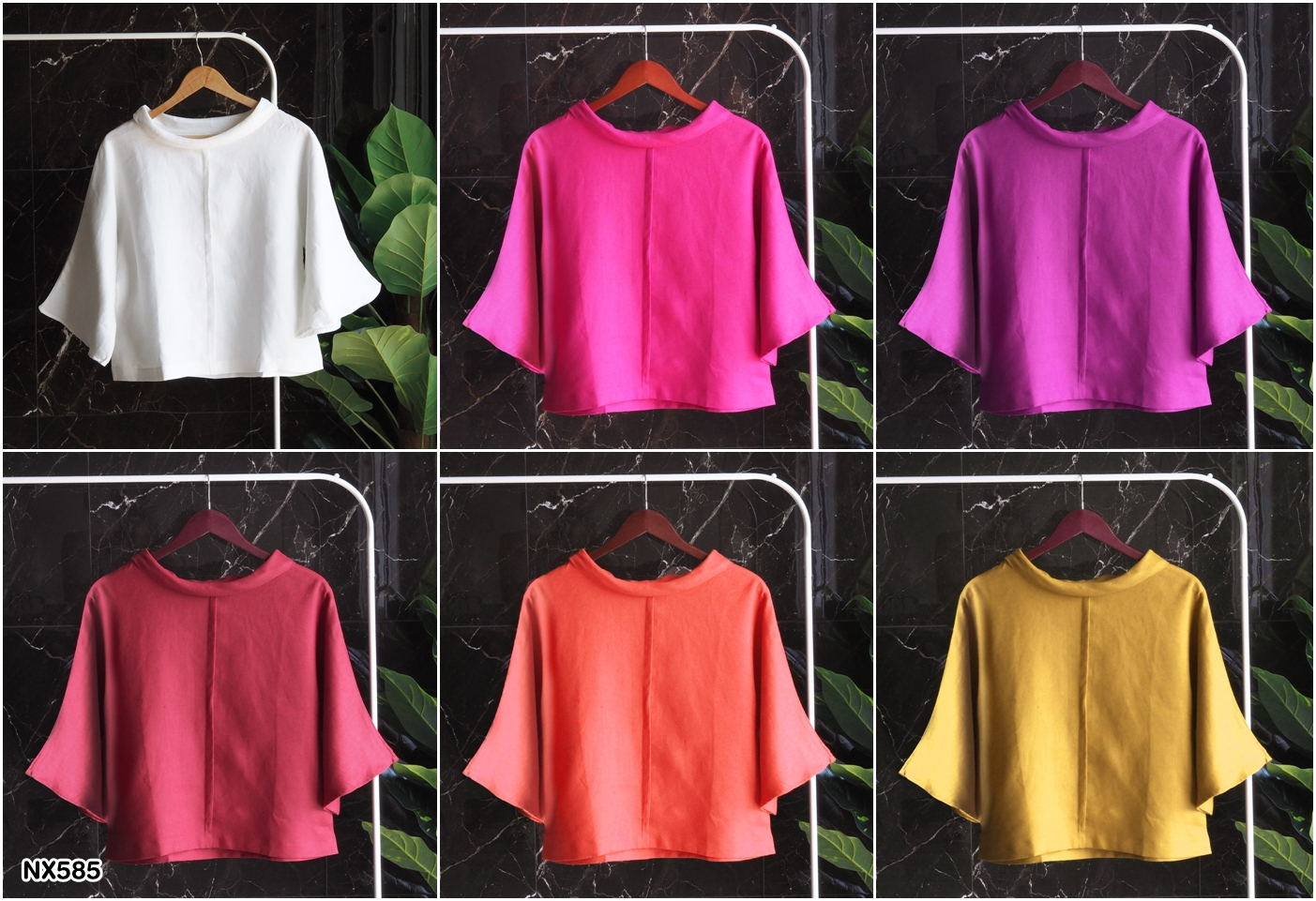NX585 Linen bell sleeves top